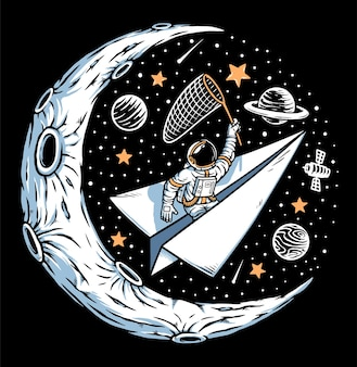 Astronaut catching stars on the moon illustration