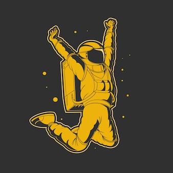Празднование космонавта на космической иллюстрации