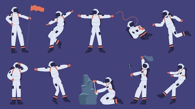우주 비행사 캐릭터. 우주 공간에서 우주복을 입고 만화 우주인 우주 세트 탐험