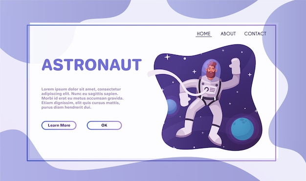 Персонаж-космонавт, исследующий космическое пространство. футуристический космонавт в скафандре идет и летает. векторные иллюстрации шаржа.