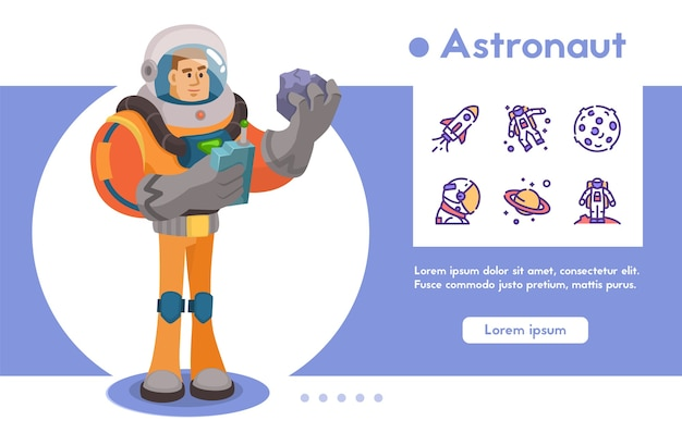 Astronaut character exploring outer space. futuristic cosmonaut in spacesuit walking and flying. cartoon vector illustration.
