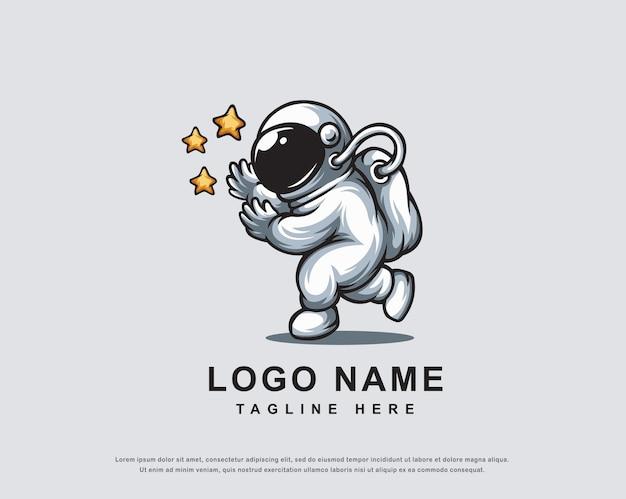 우주 비행사 캐릭터 로고 디자인