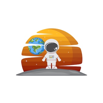 Astronaut character in space exploration science vector