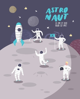 Astronaut characters poster, banner with stars and rocket. cosmonaut in space and spaceship.