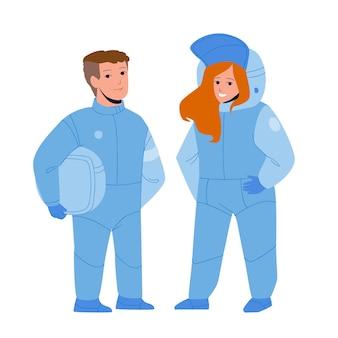 宇宙服のベクトルで宇宙飛行士の子供たちのカップル。宇宙飛行士の子供たちの男の子と女の子の将来の仕事。冒険を夢見てフラットな漫画のイラストを発見するキャラクターティーンエイジャーの職業