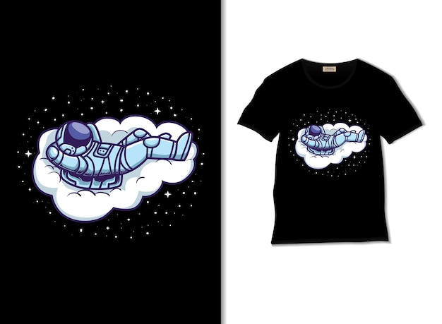 Astronaut chill out on the cloud illustration with tshirt design
