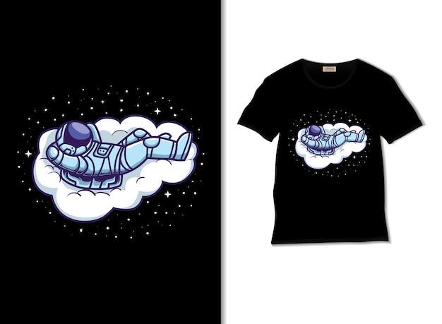 우주 비행사는 티셔츠 디자인으로 구름 그림에서 휴식을 취합니다.