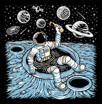 Астронавт отдыхает на планете