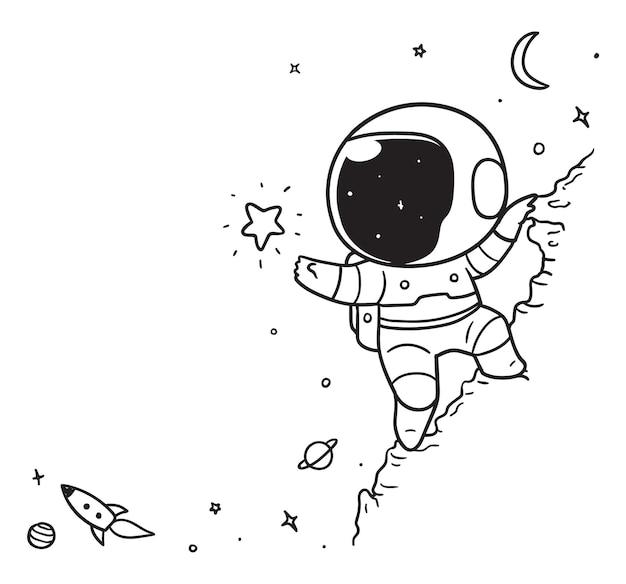 Космонавт поднимается на скалу в открытом космосе