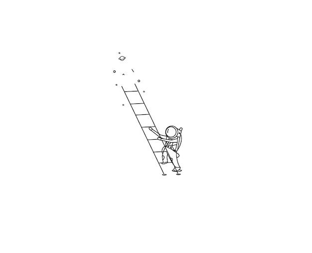 Астронавт поднимается по лестнице - плоская линия искусства дизайна иллюстрации.