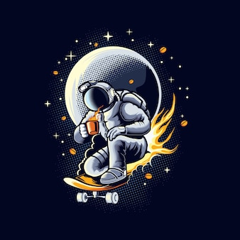 Astronaut coffee addict illustration