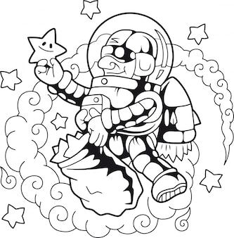 Astronaut collecting stars