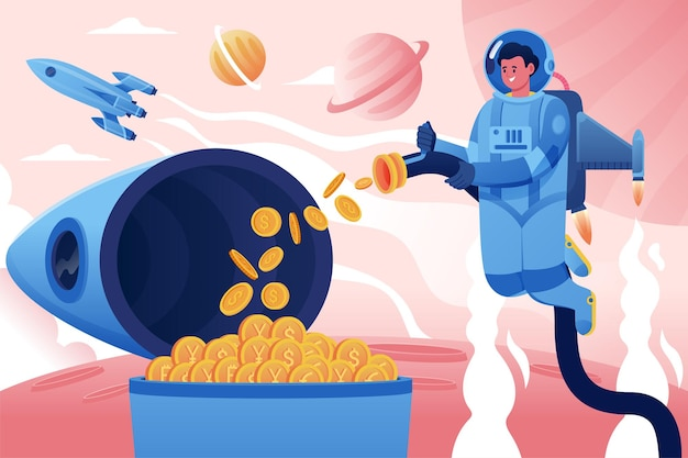 우주 비행사는 로켓에서 암호 화폐 동전을 수집합니다.