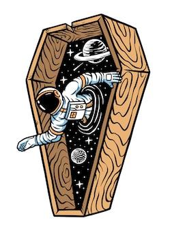 宇宙飛行士が棺桶のイラストから出てきます