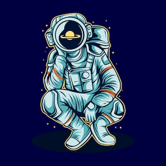 Astronaut cosmonaut daydreaming on space alone  illustration
