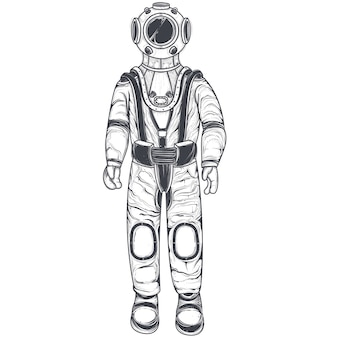 Astronaut, cosmonaut in a space suit and helmet