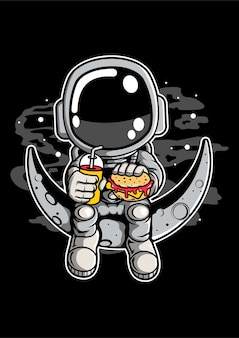 Astronaut crescent cartoon character