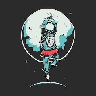 Astronaut dancing ballets cartoon illustration