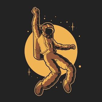 宇宙飛行士の幸せなイラストで踊る