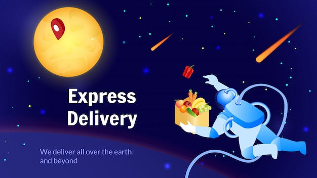 Astronaut delivers food global shipping service.