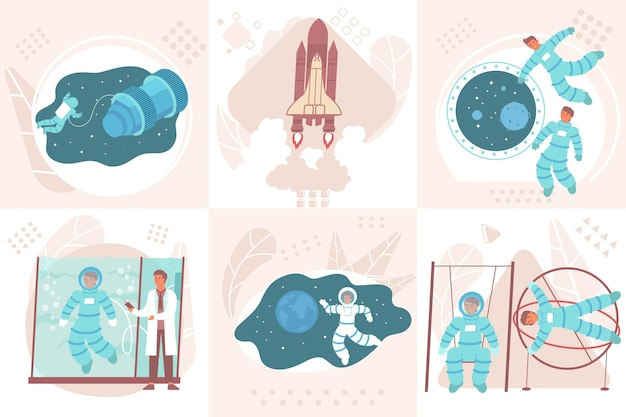 Astronaut design concept with square compositions of people during gravity load and weightlessness training with spacecraft illustration