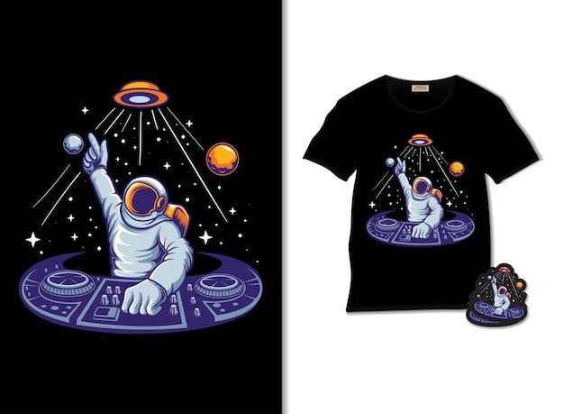 Космонавт диск-жокей иллюстрация электронной музыки с дизайном футболки