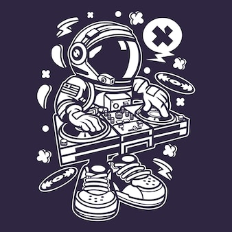 Astronaut disk jockey cartoon
