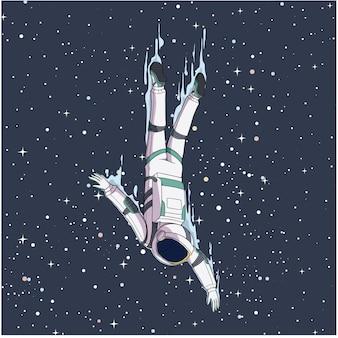 宇宙飛行士が宇宙に飛び込む
