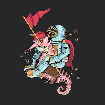 宇宙飛行士ダイビングライドタツノオトシゴユニコーンイラスト