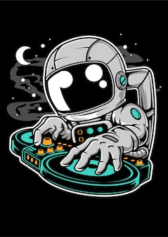 Astronaut dj cartoon character