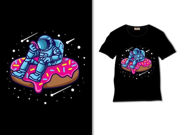 Tshirt 디자인으로 우주 비행사 도넛 애호가 그림