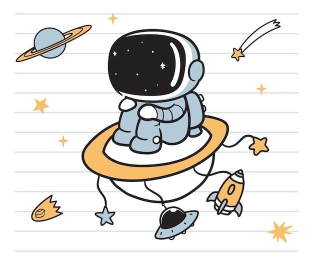 Космонавт каракули искусство