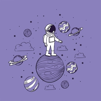 Astronaut draw with planets