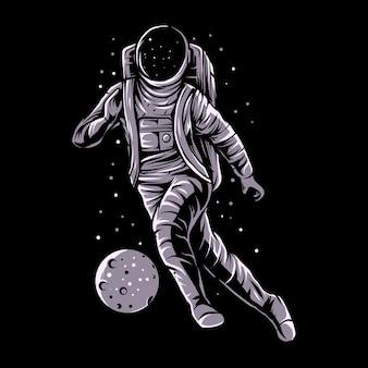 Astronaut dribble planet foot ball illustration