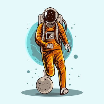 Astronaut dribbling planet football soccer  illustration design