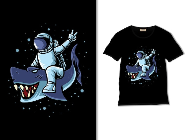 Astronaut drives blue shark in space illustration with tshirt design