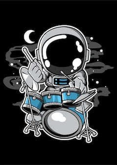 Astronaut drummer cartoon character