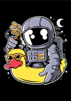 Astronaut duck balloon cartoon character