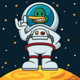 宇宙飛行士のアヒルのアイコンイラスト