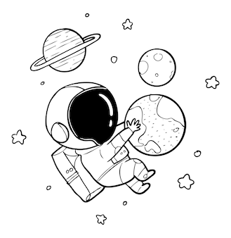 Astronaut earth drawing
