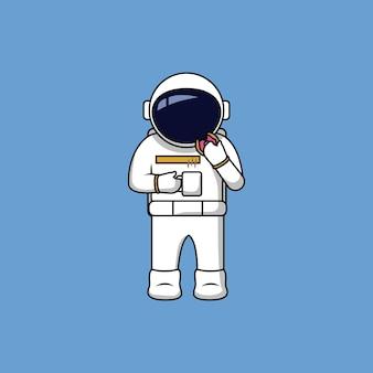 ドーナツとコーヒーカップの漫画のベクトル図を食べる宇宙飛行士