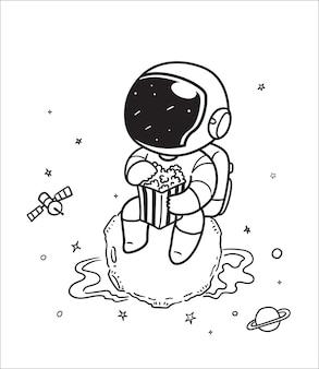 Космонавт ест попкорн в космосе