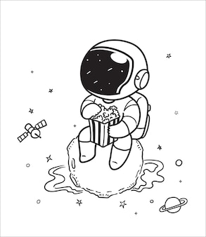 Astronaut eating popcorn in space