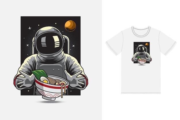 Astronaut eating ramen illustration with tshirt design premium vector