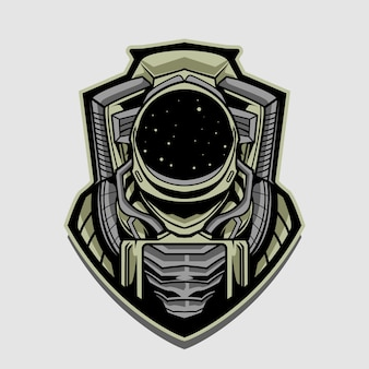 Astronaut emblem   design illustration isolated