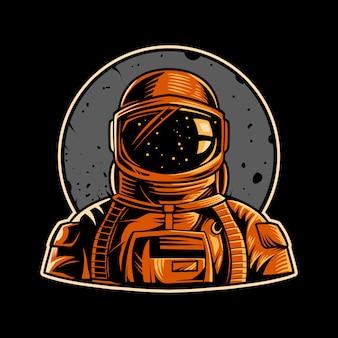 宇宙飛行士のエンブレムイラスト