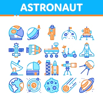 Astronaut equipment collection icons set