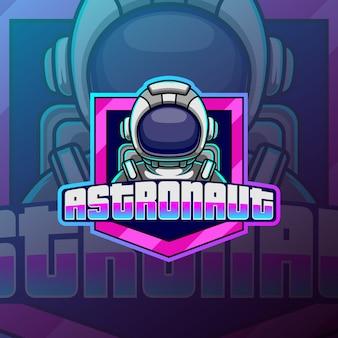 Астронавт киберспортивный талисман дизайн логотипа