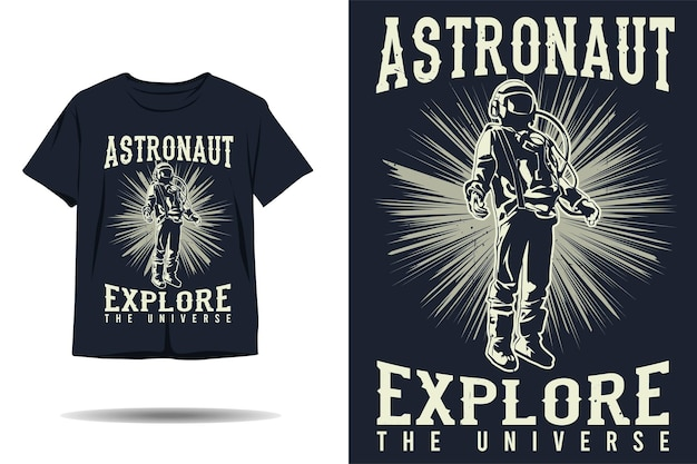 우주 비행사는 우주 실루엣 tshirt 디자인을 탐험