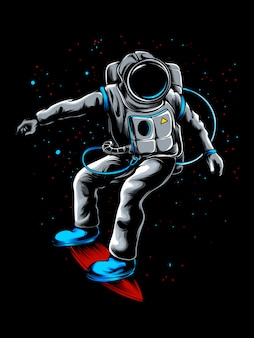 Astronaut exploring the universe with his skateboard illustration